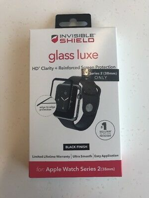 New ZAGG Invisible Shield Glass Luxe for Apple Watch Series 2 - Black - 38mm