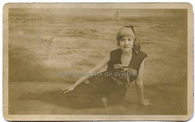 """RPPC Original 1917 Swimsuit Model """"Edith"""" from New London Connecticut CT"""