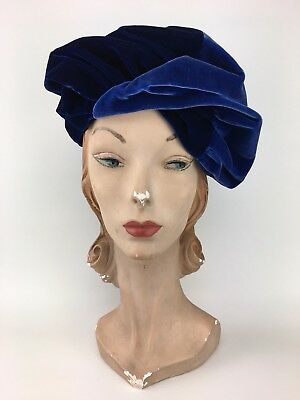 Vintage 1930s Two Tone Blue Gathered Velveteen Beret Hat -  So Deco!