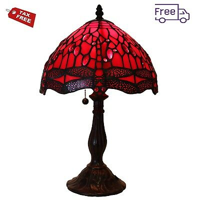 Red Glass Table Lamp Tiffany Style Dragonfly Design 16 Inch 1 Light Stained Meta