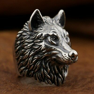 925 Sterling Silver Wolf Ring Handmade Huge Heavy Mens Biker Punk Ring TA90A