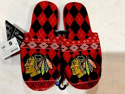 Chicago Blackhawks Men's Slippers New NHL Authentic Forever Collectibles 11/12