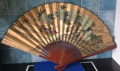 Vintage Large Bamboo Hand Painted Village Scene Chinese Wall Fan Decoration