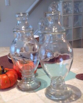 "Vintage Antique Set 2 Clear 11"" Glass Apothecary Jar Beveled Brim Brim Candy"