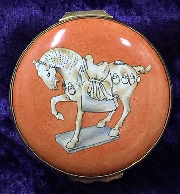 """Halcyon Days Enamels – """"Tomb Model of a Horse - Chinese Tang Dynasty"""" Box!"""