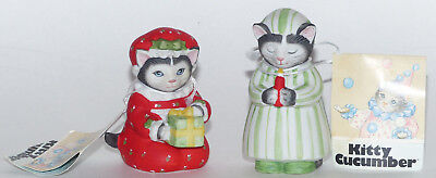 2 Schmid Kitty Cucumber Christmas Figurines Ellie W. Candle & In Nightshirt Nos