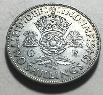Great Britain (UK) 1940 One Florin (Two Shillings) Silver Coin - King George VI