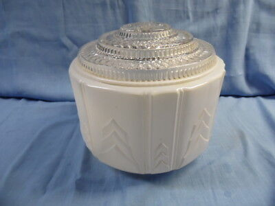 VINTAGE ART DECO ROUND w/ DECORATIVE CLEAR TOP MILK GLASS CEILING LIGHT SHADE!