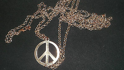 LONG DOUBLE CHAIN NECKLACE Peace sign Fashion accessory Jewellery USED