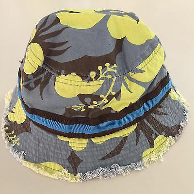 MINI BODEN AWESOME Boy's Gray- Neon Yellow Camouflage Bucket Hat, 7-10 years NEW