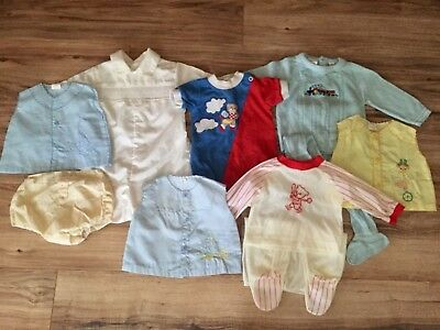 Vintage Baby Boy 0-6 Month Shirts Diaper Cover Embroidered Antique