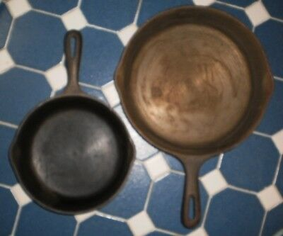 "Pair** 2 ** Vintage Wagner Ware Cast Iron Fry Skillet Pans 10.5 and 8"" Made USA"