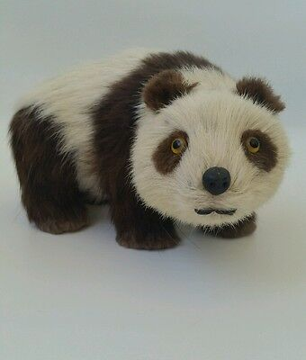 Vintage Real Fur Panda Bear - Brown and White - 9 inches - EUC