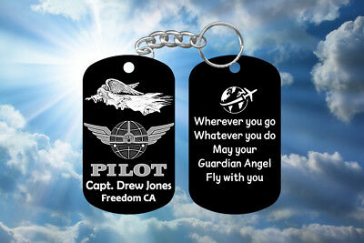 Airline Jet Pilot Gift - Guardian Angel Keychain - Super Hard - Personalized