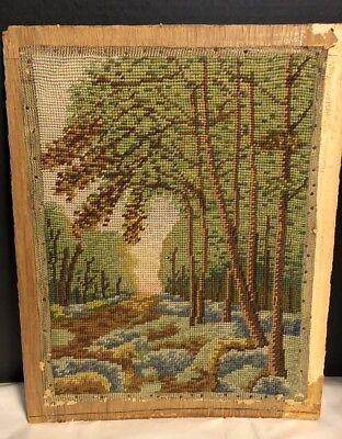 NICE OLD Antique Needlepoint 13 X 17 LANDSCAPE Tree SCENE Mounted On Board