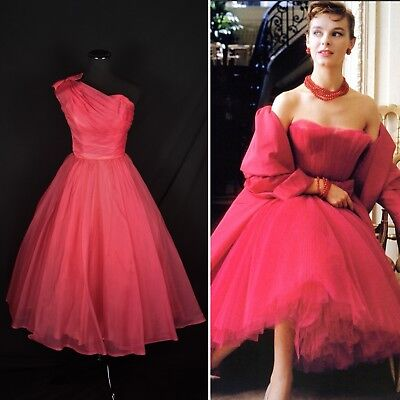 Vintage 1950's Size XS Hot Pink CHIFFON One Shoulder Organza Party Prom Gown