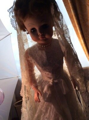 Rubber bride doll Pearls Wood Stand 25 In Tall White Lace Dress