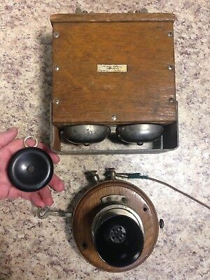 Antique Wood Phone With Separate Wood Ringer Box