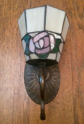 Floral Stained Glass Brass Wall Candle Sconce
