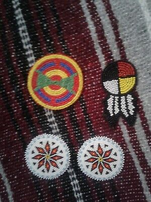 Assorted native american beaded rosettes. Four winds, blue and white star