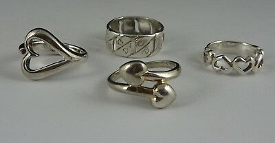 Vintage Sterling Lot of 4 Heart Rings-size 5-6-7.5-8- ALL Fingers