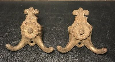 Pair of Antique Ornate Floral Design Metal Double Hooks Rare Unique Set