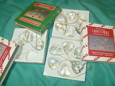 House of Lloyd Iridescent Hearts Glass Ornament 16 pieces Christmas Around World