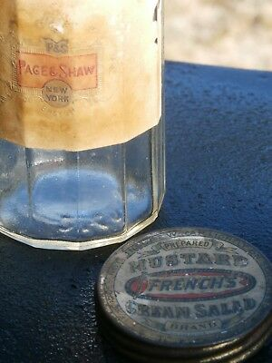 Antique FRENCH'S -PAGE & SHAW Labeled PREPARED MUSTARD & CREAM SALAD Jar/Bottle