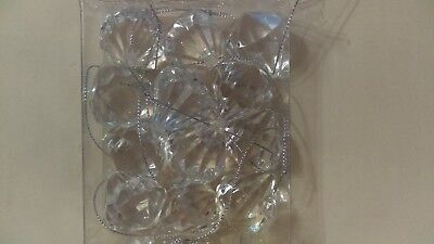Christmas ornaments set of 12 hard plastic large diamond ornaments in package