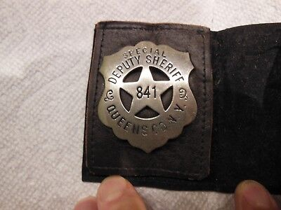 OBSOLETE DEPUTY SHERIFF BADGE Queens County New York 841 circa 1890's-1900'S