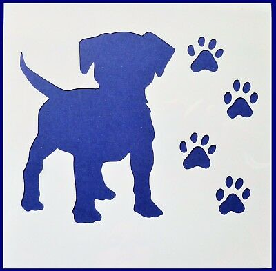 Flexible Stencil *PUPPY* Paw Prints Dog Embossing Card Making - 10cm x 10cm