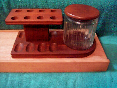 Vintage Pipe Rack & Glass Humidor Made With Nice Walnut For 8 Pipes