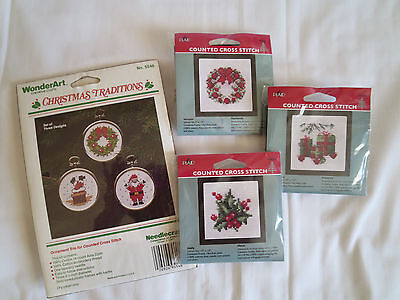4 WonderArt & PLAID Counted Cross Stitch KITS Christmas Holiday  New Sealed Pkgs