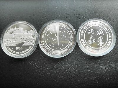 Rare 1986 Singapore Train Halley's Comet Tiger .999 Fine Silver 3 Coin Proof Set