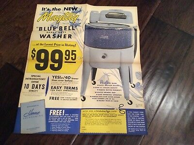 "Vintage  1957 NOS Maytag ""Blue Bell "" Washing Machine Advertising Poster Mailer"