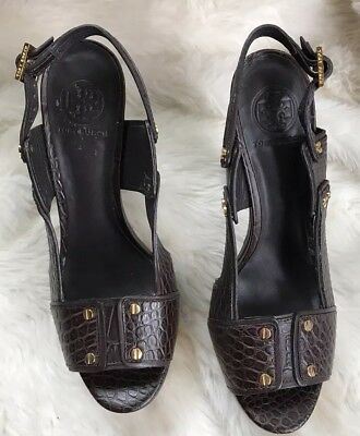 aa752171e0a Tory Burch Heels Brown Sz 9 Gold Detail Great Condition Crocodile Print Open  Toe