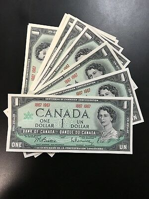 Lot of 10 1867-1967 Centennial One Dollar Bank Of Canada Notes Uncirculated