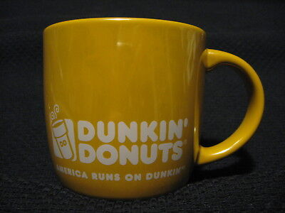 2014 Dunkin Donuts Lustre Gold Yellow Color Ceramic Coffee Drink Mug