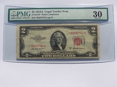 1953 A $2 STAR LEGAL TENDER NOTE Fr#1510* PMG VF-30 NO RESERVE! MUST SEE!!
