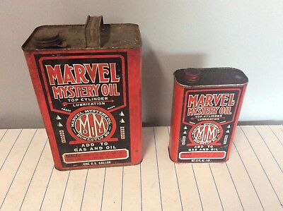 Marvel Mystery Oil Can 16 Oz partly empty 1 gallon with pour spout, Vintage.