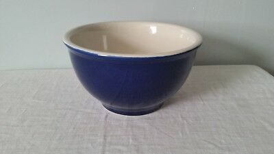 "Vintage Cobalt Blue Ceramic POTTERY MIXING  BOWL 6 1/2"" WIDE  X 3 5/8 "" TALL"