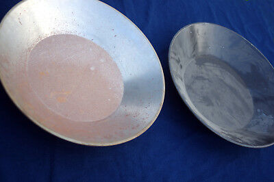 Two smooth old gold pans 15 inch diameter