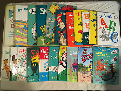 Lot DR SEUSS Horton WOCKET Cat in Hat GREEN EGGS Mr Brown BRIGHT EARLY lot of 22