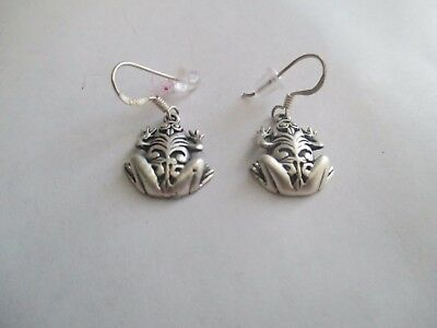 Frog Earrings...STERLING SILVER..Outstanding Detail ...New