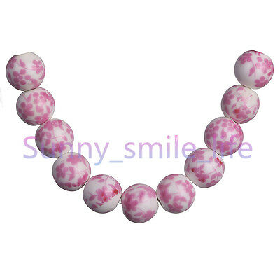 10Pcs 10mm Pink Plum Blossom Round Ceramic Loose Spacer Porcelain Beads New