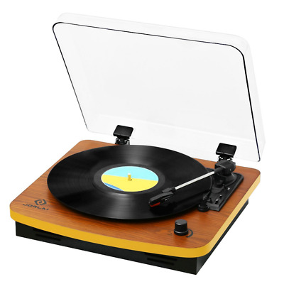 3 Speed Wooden Retro Turntable Belt Driven LP Vinyl Record Player Stereo Speaker