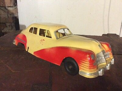 Vintage 1950s Large Plastic Irwin USA TAXI Toy Car streamline