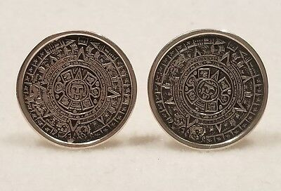 Vintage Mayan Aztec Sun Calender Sterling Silver(925) Cufflinks, Mexico