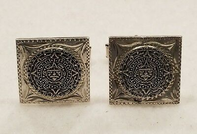 Vintage Mayan Aztec Sun Calender Sterling Silver(925) Cufflinks, Mexico/plafina