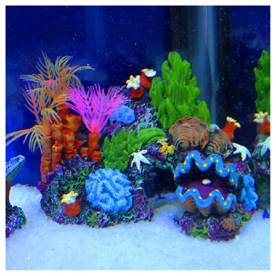 Resin Coral Plant Shell Reef Mountain Fish Tank Cave Aquarium Ornament Deco U DT